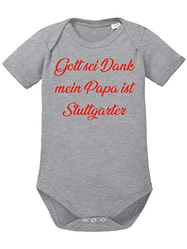 clothinx Gott sei Dank,Mein Papa ist Stuttgarter, Lustiges Fussballmotiv Baby Body Bio Sports Grey Gr. 68