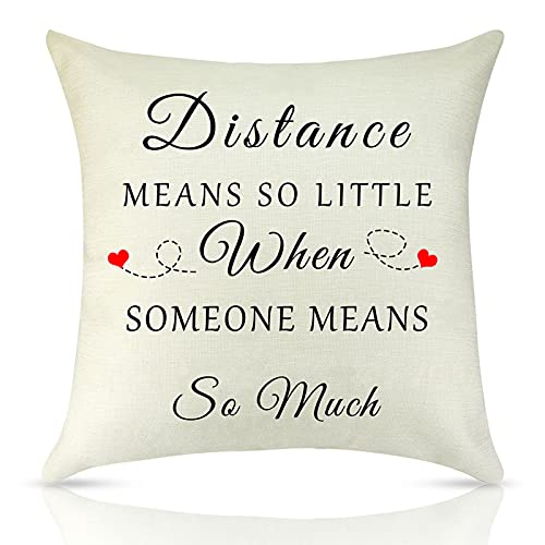 Long Distance Relationship Pillow Case Gift Couple Gift Pillowcase Anniversary Throw Pillow Cover Pillow Love Covers For Boyfriend Girlfriend Wife Friendship Gift Going Away Farewell Gift Wedding Gift