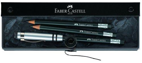 Faber-Castell 118351 - Der - Perfekte Bleistift -, inklusive Geschenkverpackung, Härtegrad B, Schaftfarbe: schwarz / silber