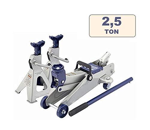 Cric/Sollevatore/Martinetto idraulico a carrello + Cavalletti/Jack 2 pz per auto/autoveicoli 2,5T/2500Kg