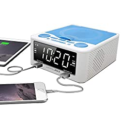HANNLOMAX HX-300CD Top Loading CD Player, PLL FM Radio, Digital Clock, 1.2 White LED Display, Dual Alarms, Dual USB Ports for 2.1A and 1A Charging, AC/DC Adaptor Included (White_Blue)