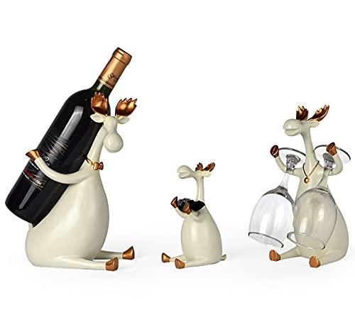 Estantes para Vino Soporte para Botellas de Vino Estatuas de Ciervos de Resina Soporte para Una Sola Botella para La Cocina Decoración del Hogar,Beige