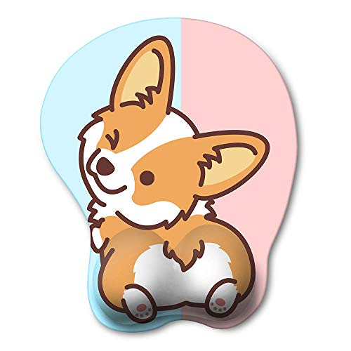 HAOCOO Ergonomic Mouse Pad with Wrist Support ,Non-Slip Backing Corgi Anime Cute Gel Mouse Pad Wrist Rest, Easy-Typing and Pain Relief for Gaming Office Computer Laptop(Blue&Pink Cute Corgi)