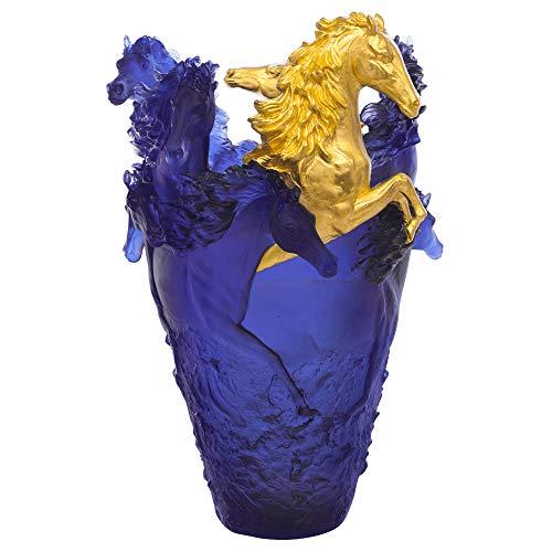 Daum Crystal Blue Magnum Horse Vase