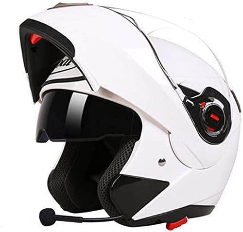 ZLYJ Casco Integral Bluetooth Modular para Motocicleta, Altavoz Incorporado con Doble Visera Abatible para Casco De Motocicleta, Casco Integrado con Certificación ECE B,XL(57-59cm)