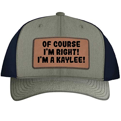 of Course I'm Right! I'm A Kaylee! - Leather Dark Brown Patch Engraved Trucker Hat, Heather-Navy, One Size