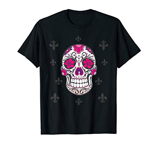 Sugar Skull mit Fleur De Lis - Day Of The Dead Totenschädel T-Shirt