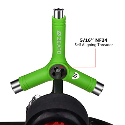 Zeato All-in-One Skate Tools Multi-Function Portable Skateboard Y Tool Accessory with Y-Type Allen Key and L-Type Phillips Head Wrench Screwdriver - Green