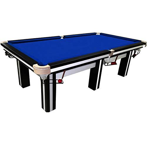 Buckshot Snookertisch 8ft - 244x132cm Billardtisch Cambridge Schwarz/Weiß - Blaues Tuch 8 fuß - 36 mm Schieferplatte - 450KG