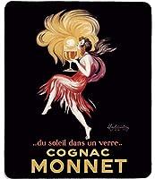 アートマウスパッド-ヴィンテージコニャックモネワインポスターの有名なファインアート絵画を使用した天然ゴムマウスパッドLeonettoCappielloによるガラスの太陽-ステッチエッジ-9.5x7.9インチ