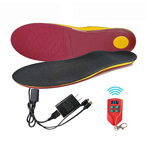 Rechargeable Heated Insoles with Remote Control for Men Women, Electric Heating Shoe Insoles Arch Support Foot Warmer for Skiing Camping Hunting Hiking(L- Male 8-13; Female 10-13)