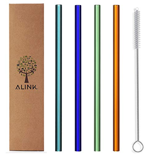 ALINK Glass Smoothie Straws, 9' x 10 mm Wide Reusable Straight Straws, Pack of 4 with Cleaning Brush