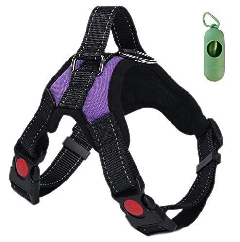 VF Arnés de perro Lex ajustable con asa superior apta para cualquier perro, ideal para caminar, correr y adiestramiento. Dispensador para bolsas higiénicas (M, púrpura) ✅