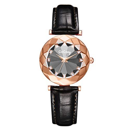 LEEDY Damen Quarz Analog Uhr, Mode Damenuhr Armbanduhr mit Weichem Lederband und Konvex Glas Wählen Sie Frauen und Mädchen Geschenk