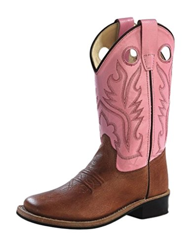 Old West Cowboy Boots Girls Rubber 3.5 Child Tan Canyon Pink BSY1839