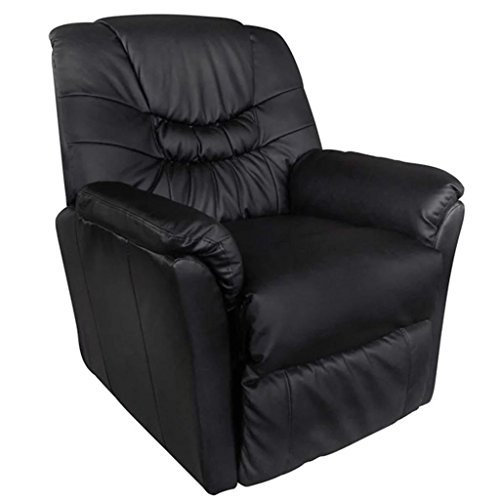 Tidyard Massagesessel Elektrisch Kunstleder Schwarz Electric Massage Armchair Faux Leather TV Chair with Heating Function Black
