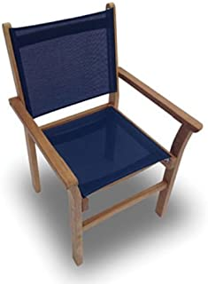 Royal Teak Collection CAPN Captiva Sling Stacking Chair, Navy