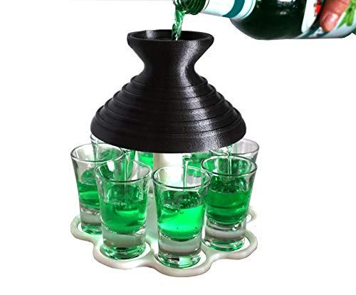 Schnapsschirm dein schneller Schnapsausgießer - Trichter - Geschenkidee - Schnapshalter - Schnaps - Verteiler für jede Party (metallic/weiß)