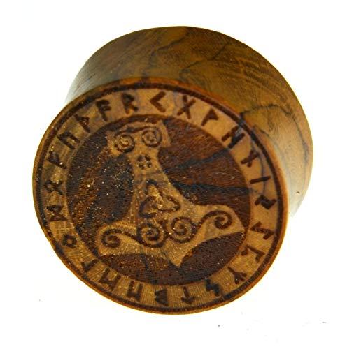 Flesh Holz Plug Mjölnir Viking Wikinger Kelten Triskele Thors Hammer mit Runen Ring, double flared Tunnel Expander Dehner aus Teakholz in braun, unisex Lobes Piercing Laser Gravur, 10mm - 20mm