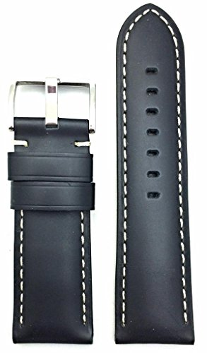 26mm Black Leather Watch Band Compatible with Panerai Watch | Solid, Heavy Duty, Smooth Replacement Wrist Strap Bracelet with Creamy Off-White Stitches that brings New Life to Any Watch (Mens Standard Length)