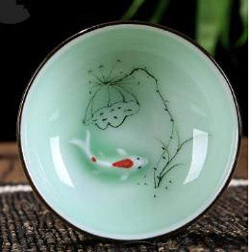 WJGJ Taza Pintada de café de cerámica de la Mano de cerámica de Loto Taza de té de Porcelana Zen Tea Tazón Vaso té Pequeño China Fish Juego de té Accesorios-C (Color : B)