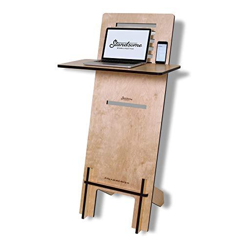 Standsome Free Crafted – Stehpult höhenverstellbar, Stehschreibtisch und Rednerpult, mobiler Schreibtisch, Stehtisch Laptop und Pult aus Holz