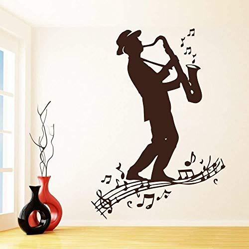 ASFGA Tocando saxofón Pegatinas de Pared Trompeta Hombre Sala de Estar Interior decoración del hogar Dormitorio Estudio de música Amor Disco Musical partituras Mural Club 42x30 cm
