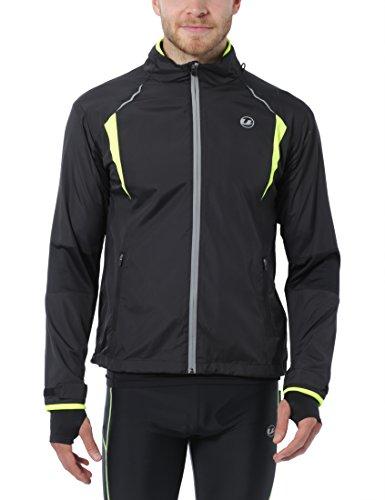 Ultrasport Herren Stretch Delight Running-Bikingjacke, Schwarz/Neon Gelb, M