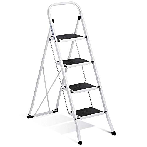 ACSTEP Step Stool Folding 4 Step Ladder with Convenient Handgrip Sturdy Folding Step Ladder 4 Step with Anti-Slip and Wide Pedal Hold up 300lbs Portable Folding Steel Stool