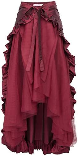 Belle Poque Victorian Ruffled Renaissance Skirt Cape Steampunk Costume for Women L Wine product image