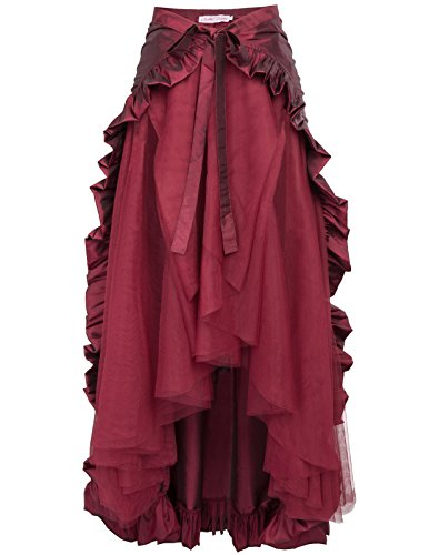 Belle Poque Gonna vittoriana in Pizzo Retro Steampunk Lolita RuffleSize XL Vino Rosso