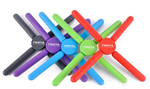 Tenta Kitchen Utility Foldable Silicone Trivets, Expandable/Collapsible Silicone trivets (Pack of 5)