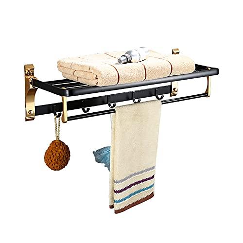 LQWE SUS 304 Toallero de acero inoxidable para baño, estante plegable de baño con ganchos de barra de toalla, barras de toalla doble multifunción estilo hotel, níquel cepillado, 23 pulgadas