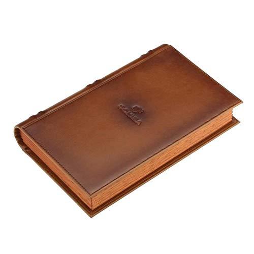 POMU lederen sigaar reiskoffer cederhout sigaar doos draagbare boek stijl 5 buizen vochtige sigaar doos, COHIBA LOGO