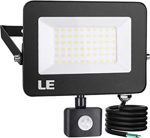 LE 50W 5000lm LED Security Lights Motion Sensor Light Outdoor, Super Bright Flood Light with Photocell, Daylight White 5000K, ETL Listed Waterproof Wall Mount Floodlight for Backyard, Driveway, Garage