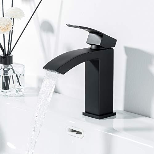 GAPPO Grifo monomando para lavabo, efecto cascada, para baño, de latón, color negro