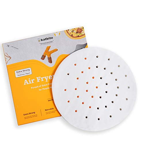 Katbite 120Pcs 7.5/9Inch Heavy Duty Air Fryer Liners Parchment Paper, Round Perforated Parchment Paper for Air Fryer, Uses for 3.5 & 3.7 QT Air Fryers, Bamboo, Metal Steamer(7.5 Inch)