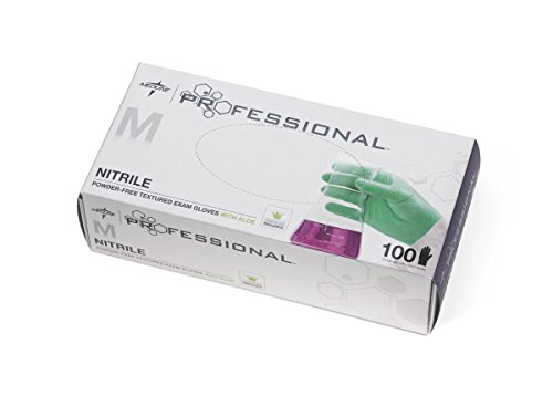 Medline MIIPRO31762 Professional Exam Glove with Aloe, Powder-Free, Medium, 9-1/2