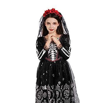Girls Skeleton Costume Kids Halloween Zombie Bride Fancy Dress Cosplay-Skull 10-12 Year