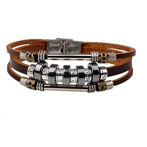 Pulsera de cuero multicapa, brazalete de cordón encerado de madera bohemia Vintage, brazalete con cuentas, brazalete para hombres y mujeres
