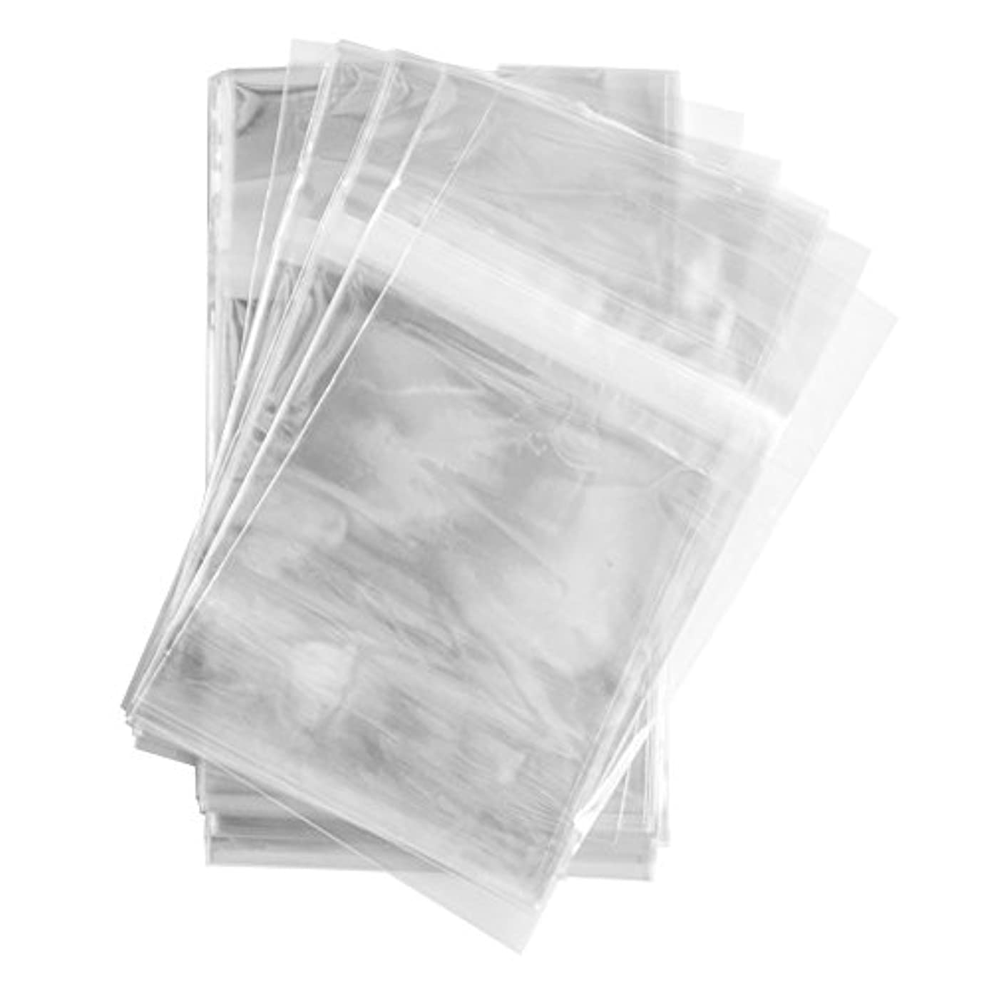 100 Pcs 5 7/16 X 7 1/4 Clear (A7+) (P) Card Resealable Cello / Cellophane Bags - Tape Strip on Body (100)