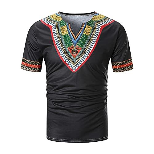 Shirt Hombres Imprimir Verano Hombres Manga Corta Slim Fit con Cuello En V Estilo Étnico Creativo Camiseta Hombres Vintage Casual Hombres Sport Shirt C-Black 3XL