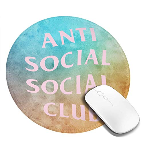 Anti Social Club Round Mouse Pad 7.8' Gaming Mouse Mat Non-Slip Rubber Base for Computer