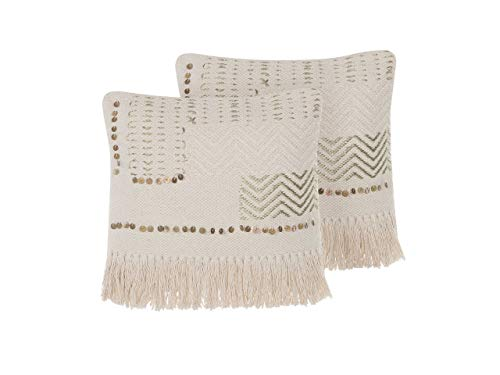 Beliani Dekokissen 2er Set Boho beige 45x45 cm Baumwolle quadratisch Vayali
