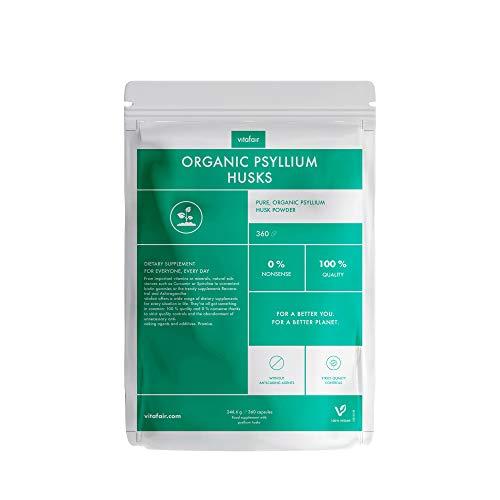 VITAFAIR Psyllium Husk 1350mg - 360 Capsules (2 Months) Vegan, No Additives, Lab-Tested, German Quality - Natural and Organic Herbal Fibre Supplement for Men & Women