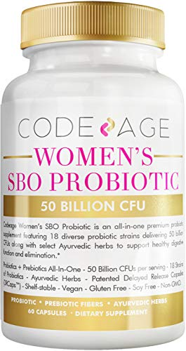 Women's Probiotics Supplement - 50 Billion CFUs - SBO Probiotics & Prebiotics - Cranberries - Feminine Health - Fermented Botanical Blend, Whole Food Supplement - Vegan, Non-GMO - 60 Capsules