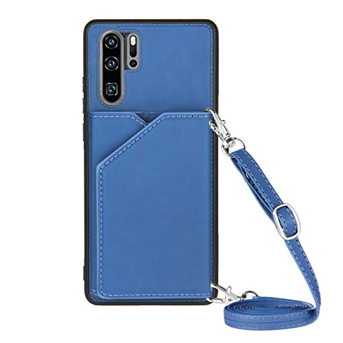 Funda para Huawei P30 Pro con Cuerda, Carcasa Cuero Premium PU Suave Case con Correa Colgante Ajustable Collar Correa de Cuello Cadena Cordón Ranuras para Tarjetas Anti-Choque Cover, Azul