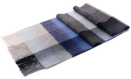ANDORRA Men's Winter Cashmere Scarf with Gift Blue Box, Blue/Gray Plaid