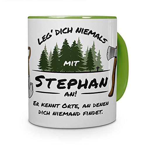 printplanet Tasse - Leg Dich Nicht mit Stephan an - Namenstasse, Kaffeebecher, Mug, Becher, Kaffeetasse - Farbe Grün