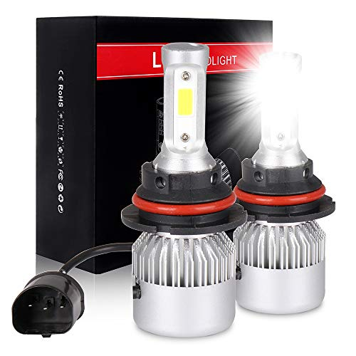 ECCPP 9007 LED Headlight Bulb Hi/Lo Beam White Headlamp Conversion Kit - 80W 6000K 9600Lm - 1 Year Warranty(Pack of 2)